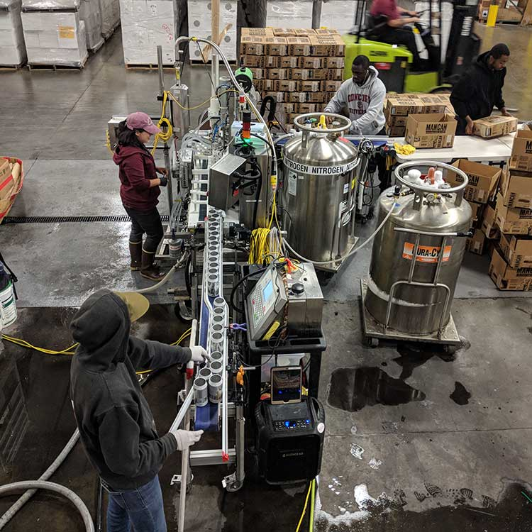 Top view of the canning operation at a customer location